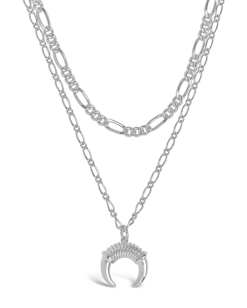Layered Chain Necklace with Horn Pendant Necklace Sterling Forever Silver