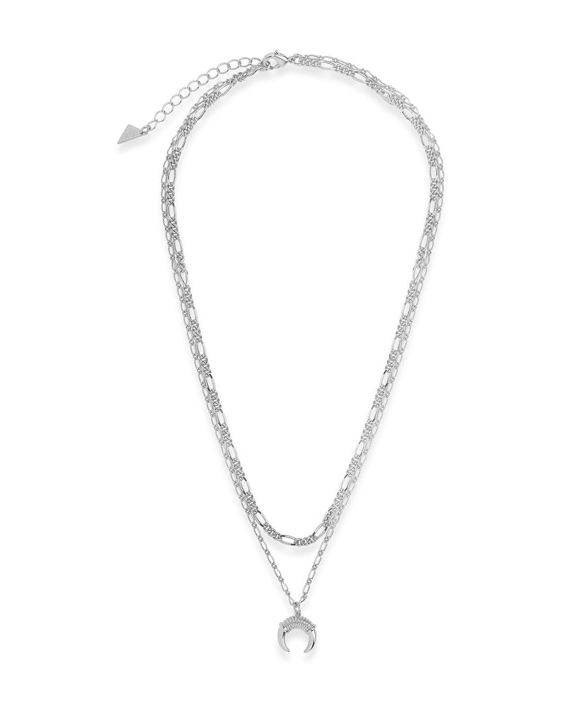 Layered Chain Necklace with Horn Pendant Necklace Sterling Forever