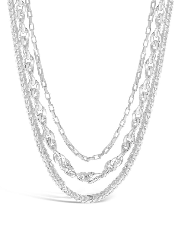 Three Layer Bold Chain Necklace Necklace Sterling Forever Silver