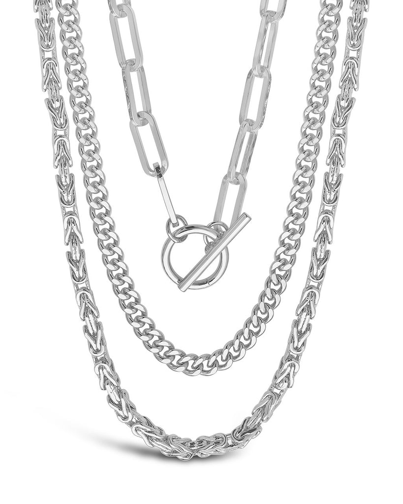 Triple Layer Toggle and Chain Necklace Necklace Sterling Forever Silver