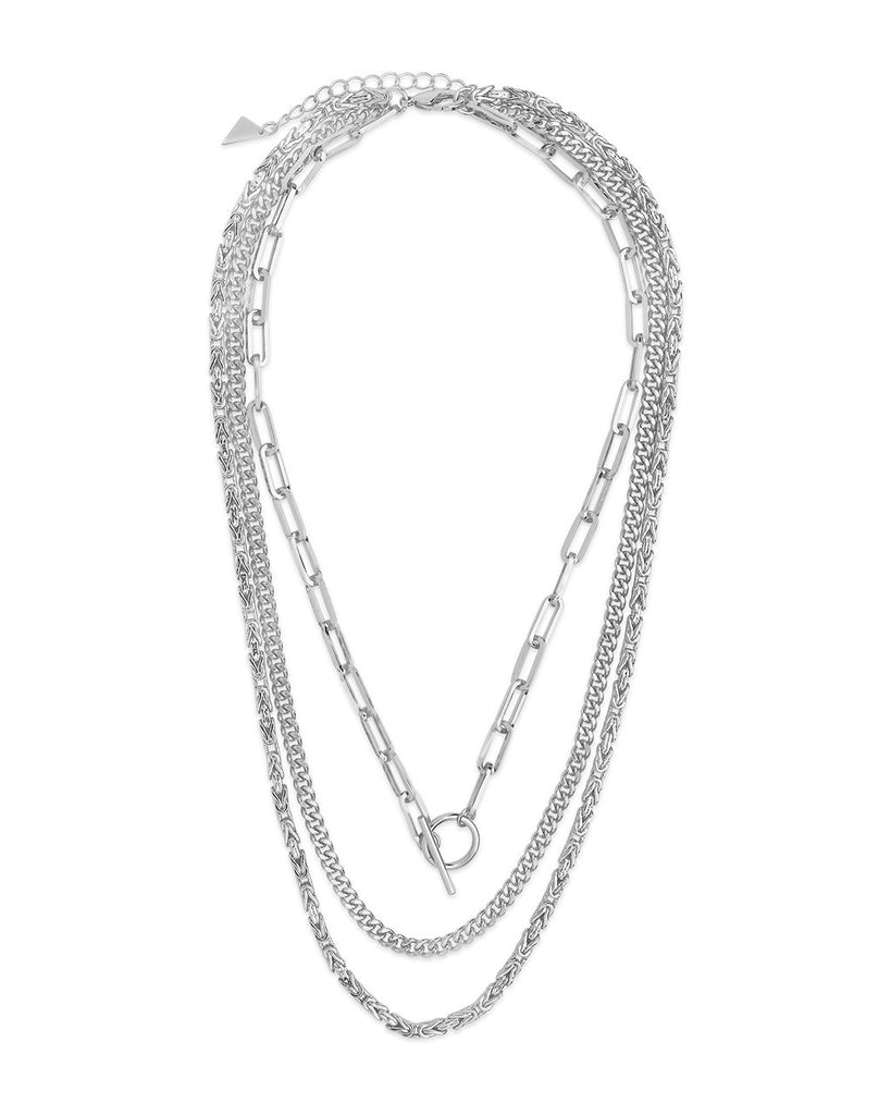 Triple Layer Toggle and Chain Necklace Necklace Sterling Forever