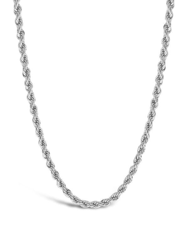 Rope Braided Twist Chain Necklace Sterling Forever Silver