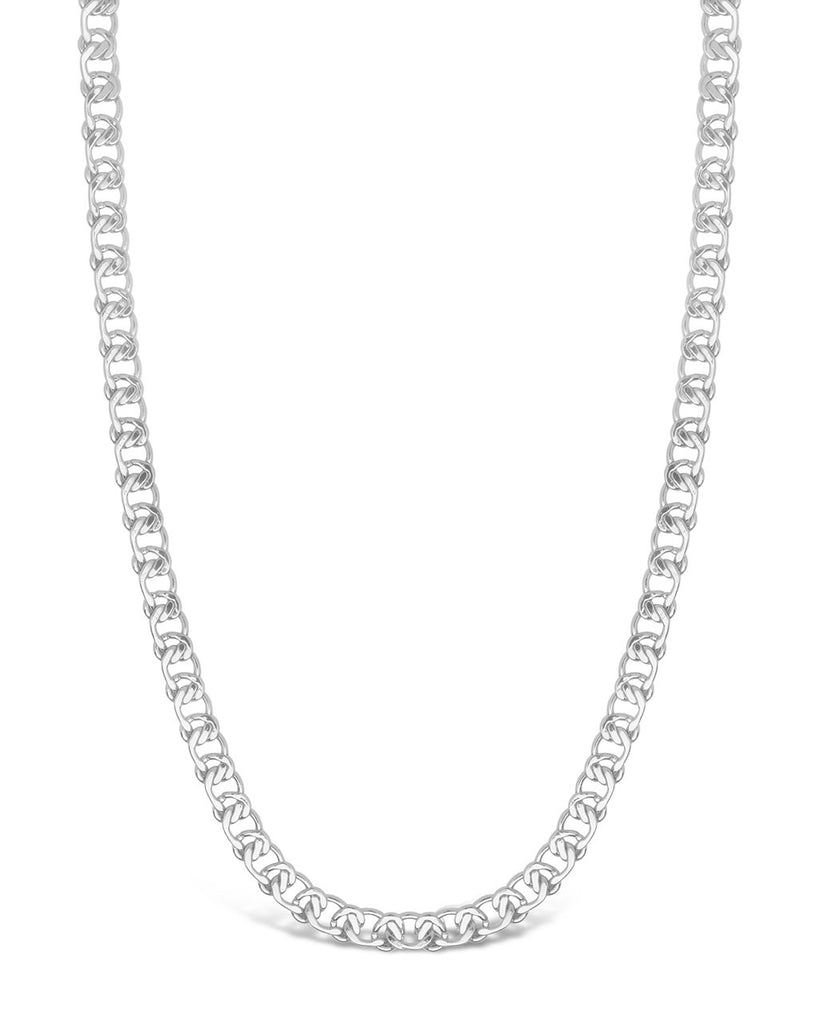 Interlocking Curb Chain Necklace Sterling Forever Silver