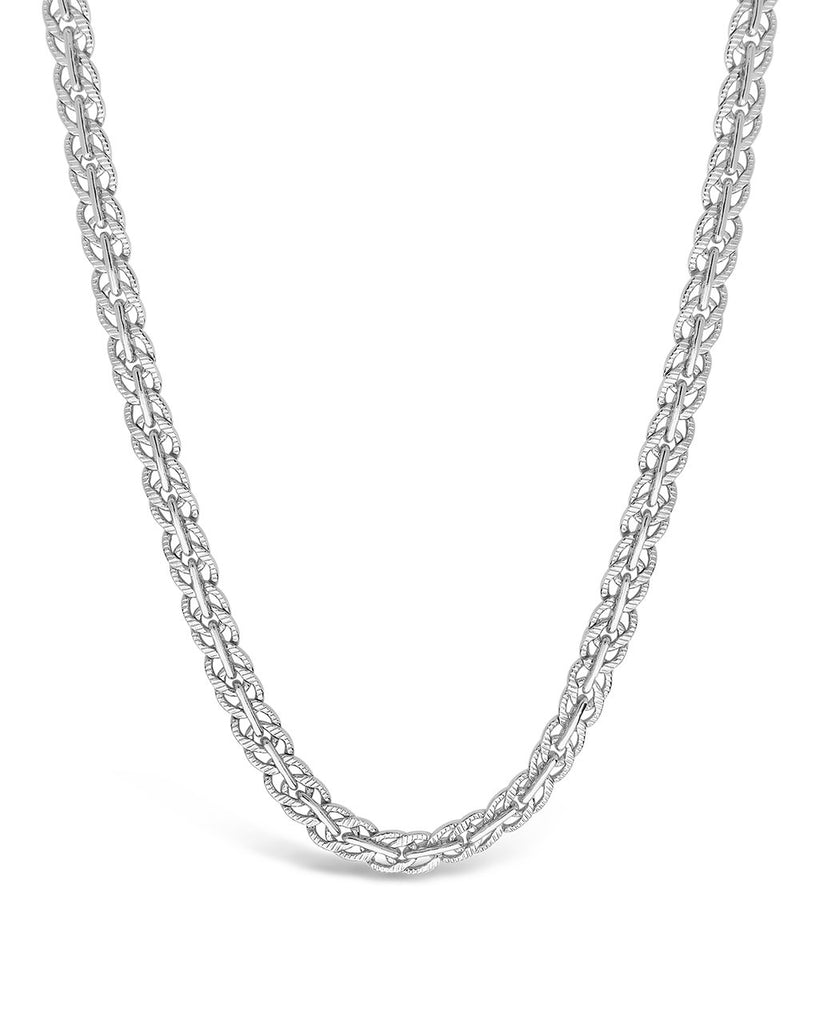 Hammered Interlocking Curb Chain Necklace Sterling Forever Silver