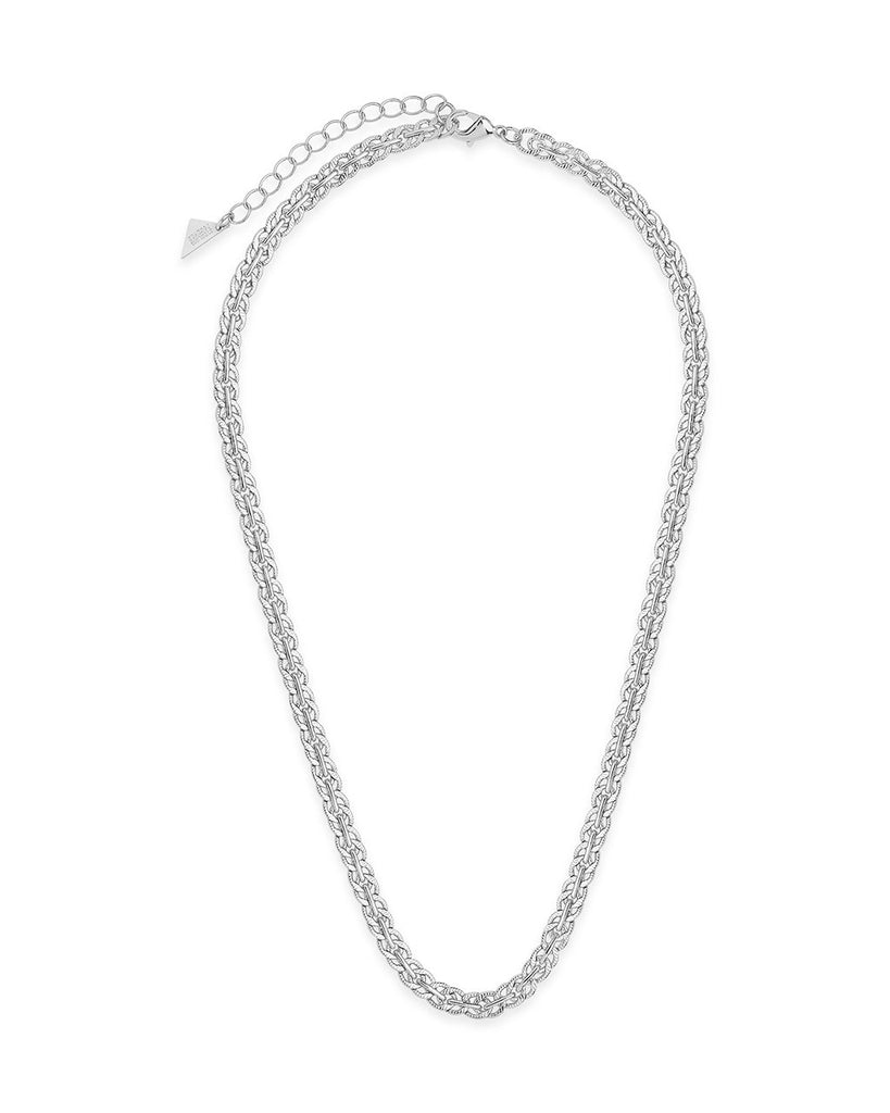Hammered Interlocking Curb Chain Necklace Sterling Forever