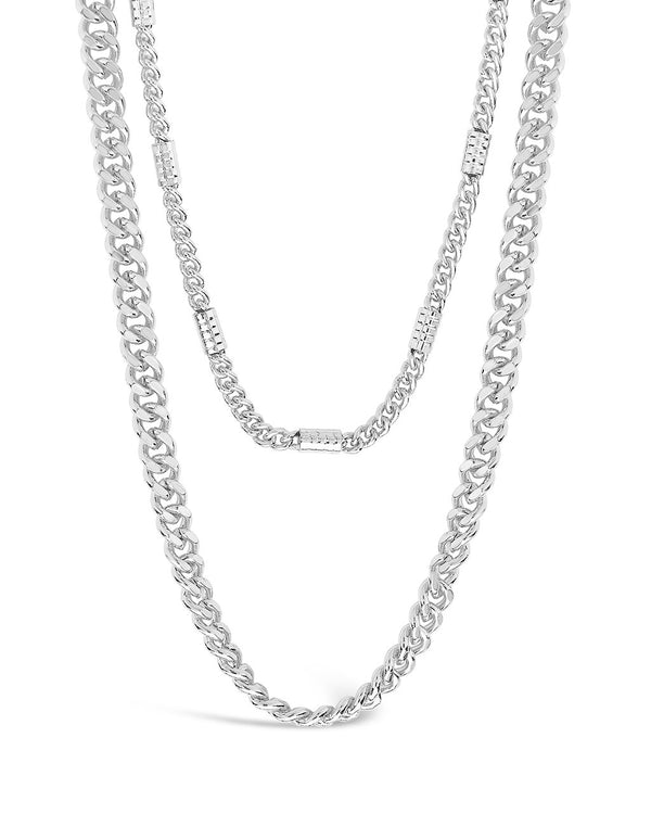 Curb & Station Layered Chain Necklace Necklace Sterling Forever Silver