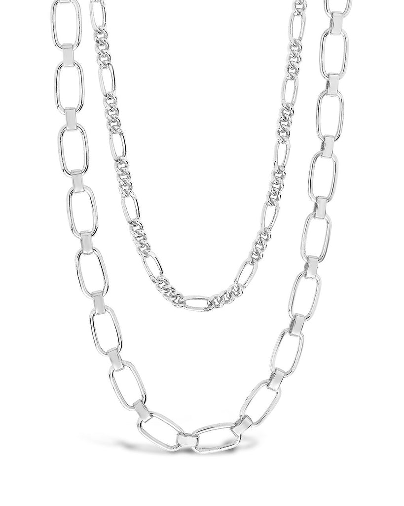 Figaro & Square Link Layered Chain Necklace Necklace Sterling Forever Silver