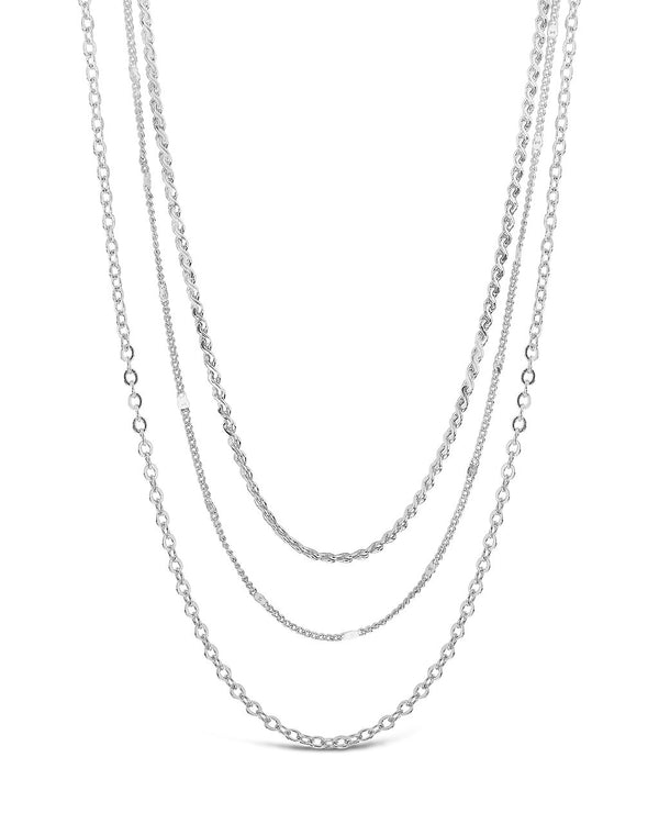 Dainty Three Layer Chain Necklace Necklace Sterling Forever Silver