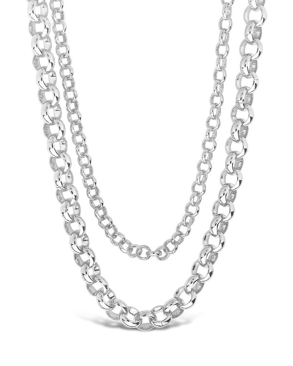 Bold Layered Rolo Chain Necklace Necklace Sterling Forever Silver
