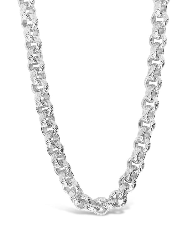 Textured Round Link Chain Necklace Sterling Forever Silver