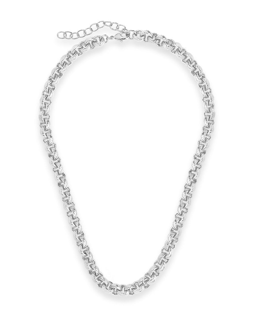 Textured Round Link Chain Necklace Sterling Forever
