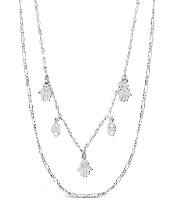 Evil Eye, Hamsa, & Figaro Chain Layered Necklace Necklace Sterling Forever Silver