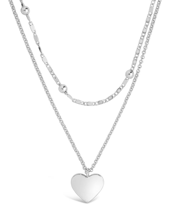 Beaded Chain & Heart Charm Layered Necklace Necklace Sterling Forever Silver