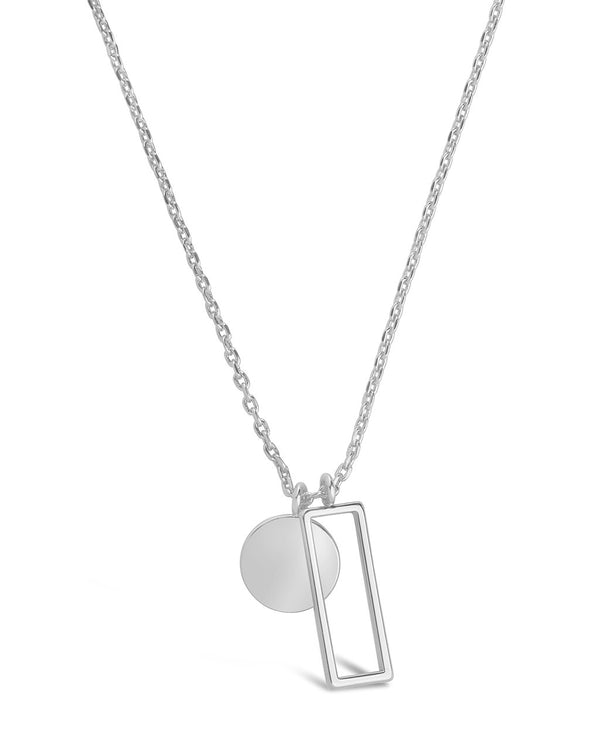 Open Rectangle & Circle Pendant Necklace Necklace Sterling Forever Silver