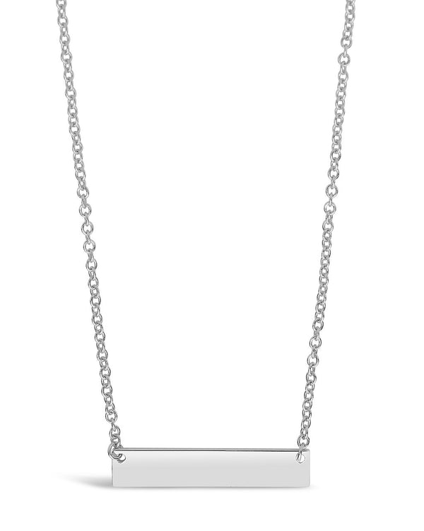 Sterling Silver Mini Bar Pendant Necklace Sterling Forever Silver