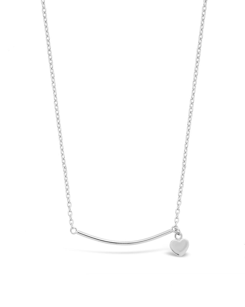 Sterling Silver Polished Bar & Heart Drop Necklace Necklace Sterling Forever Silver