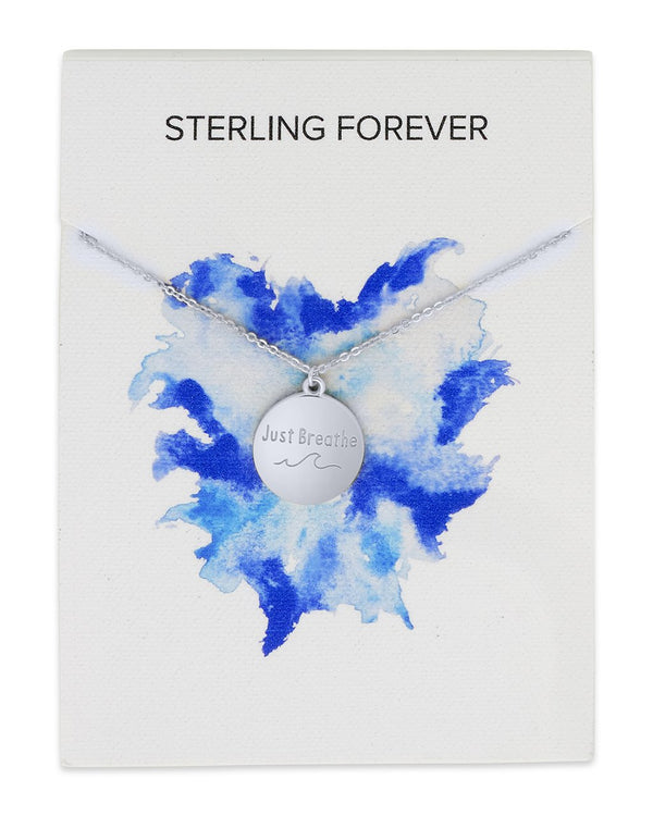 Sterling Silver 'Just Breathe' Disc Pendant Necklace Sterling Forever Silver