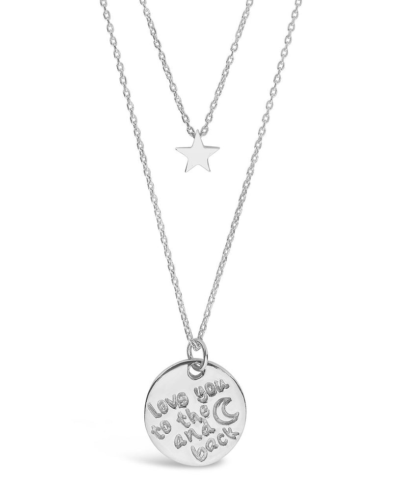 Sterling Silver Star & 'Love You to the Moon & Back' Disc Layered Necklace Necklace Sterling Forever Silver