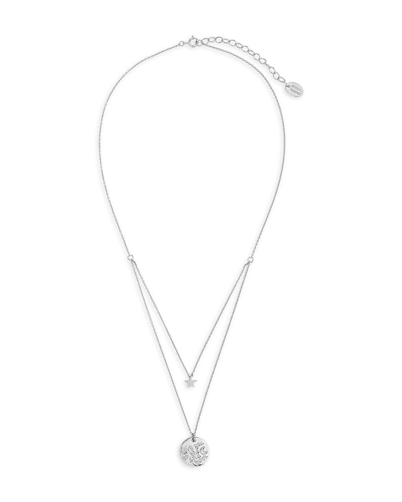 Sterling Silver Star & 'Love You to the Moon & Back' Disc Layered Necklace Necklace Sterling Forever