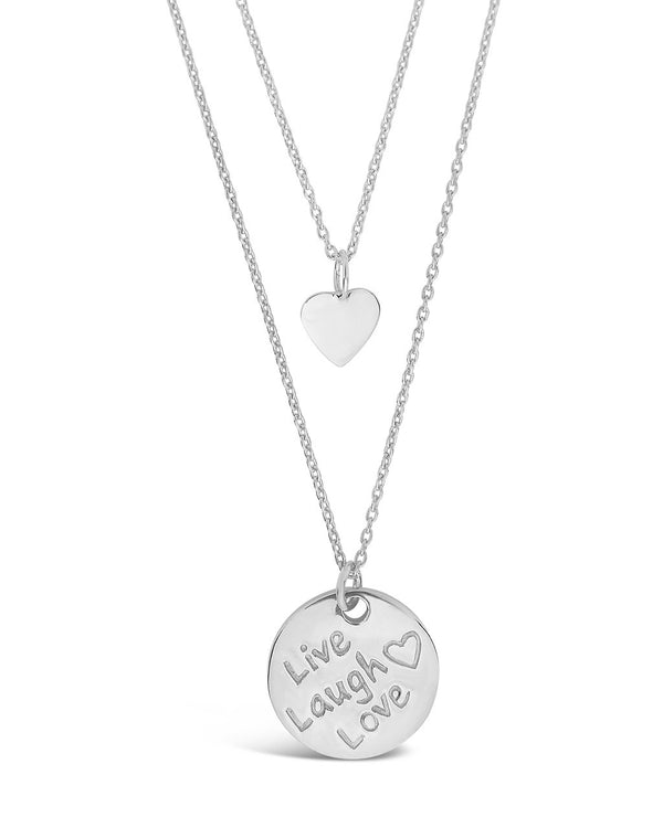 Sterling Silver Heart Charm & 'Live, Laugh, Love' Disc Layered Necklace Necklace Sterling Forever Silver