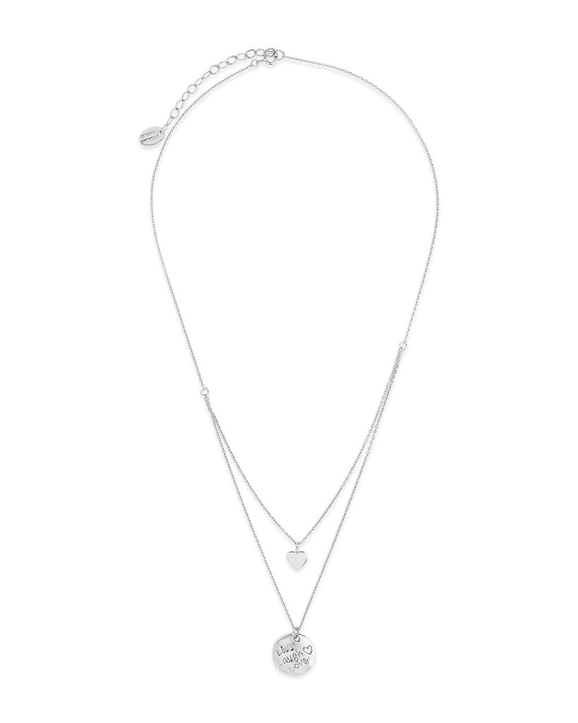 Sterling Silver Heart Charm & 'Live, Laugh, Love' Disc Layered Necklace Necklace Sterling Forever