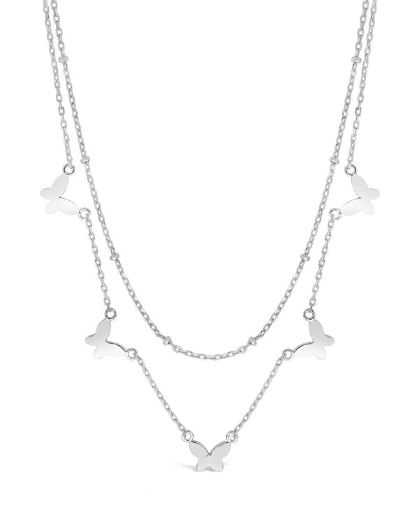 Sterling Silver Layered Butterfly Necklace Necklace Sterling Forever Silver