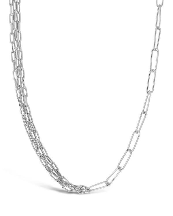 Sterling Silver Layered Paper Clip Chain Necklace Necklace Sterling Forever Silver