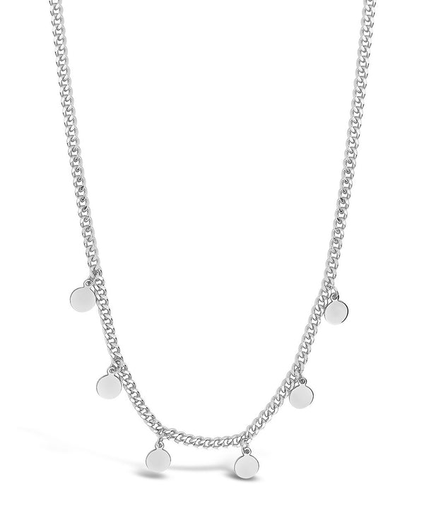 Sterling Silver Dainty Curb Chain with Disk Charms Necklace Sterling Forever Silver