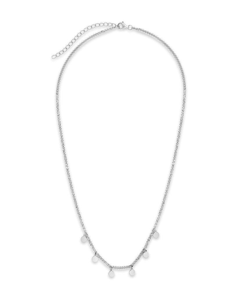 Sterling Silver Dainty Curb Chain with Disk Charms Necklace Sterling Forever