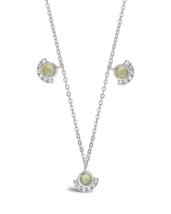Sterling Silver Half Halo Opal Pendant Necklace Necklace Sterling Forever Silver