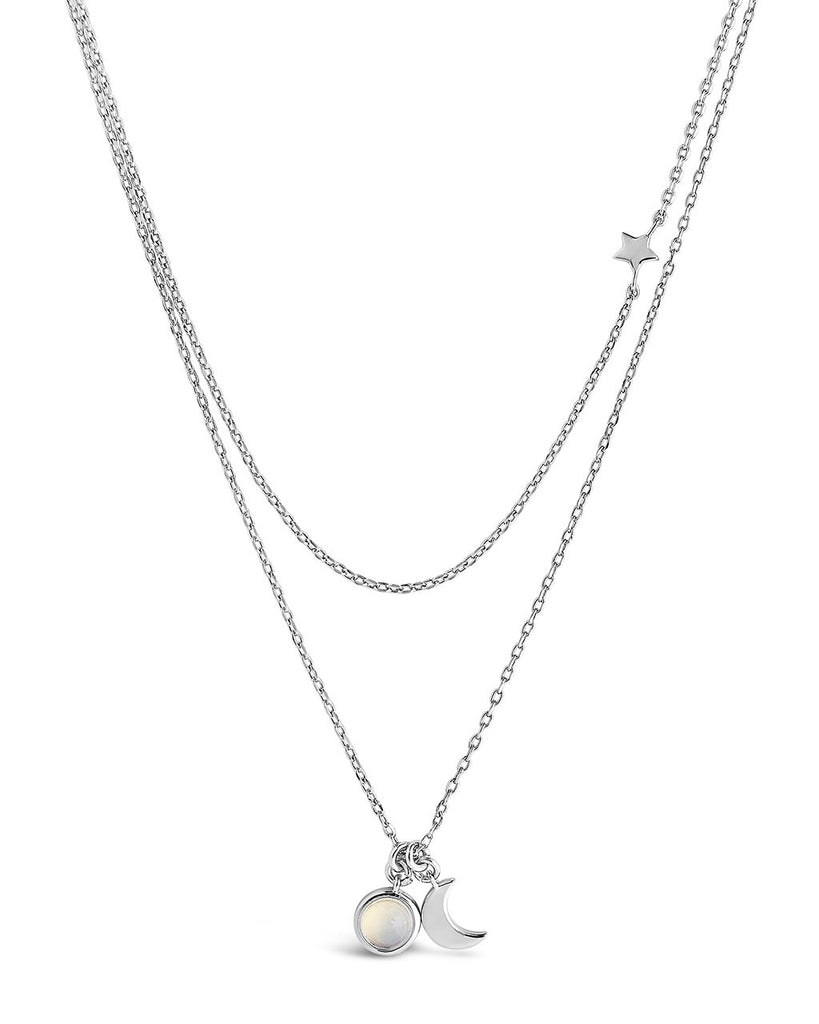 Moon, Moonstone, & Star Layered Necklace Necklace Sterling Forever Silver