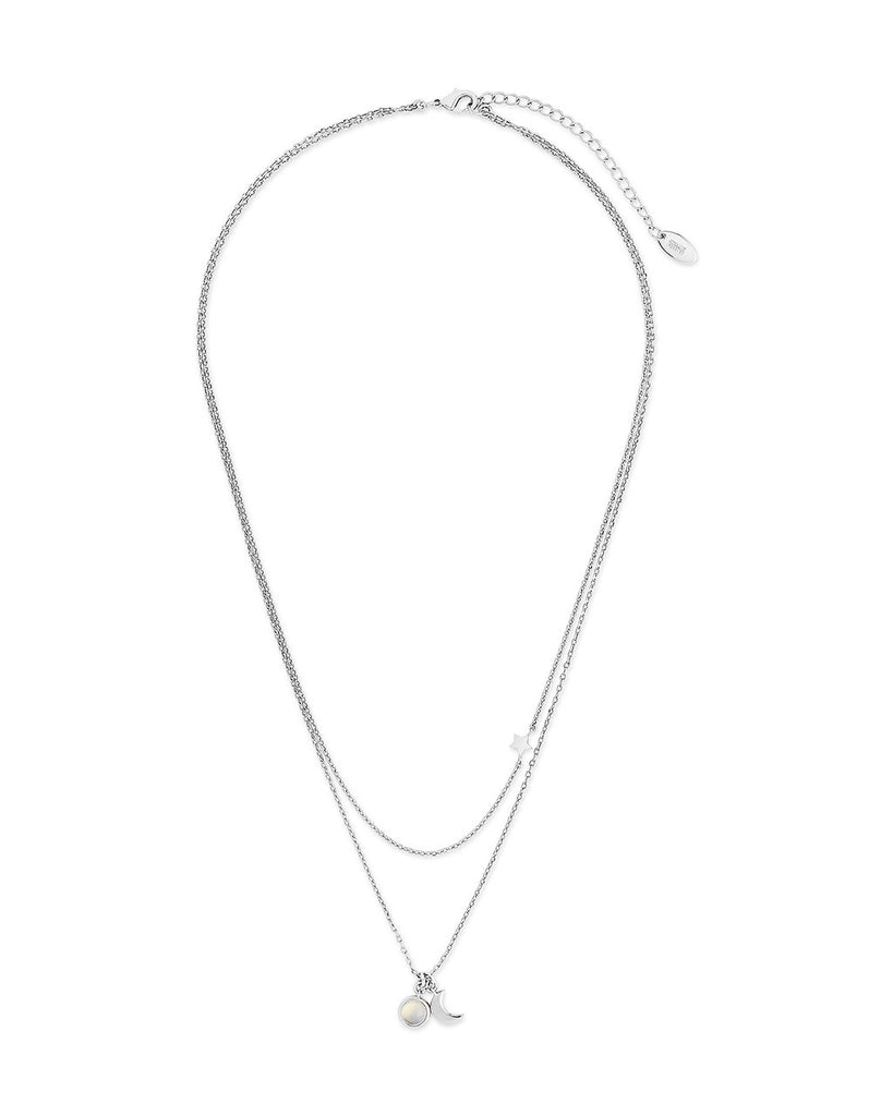 Moon, Moonstone, & Star Layered Necklace Necklace Sterling Forever