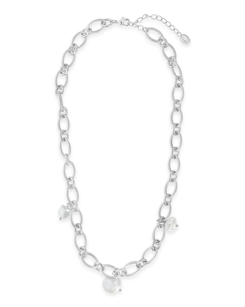 Triple Pearl Chain Link Necklace - Sterling Forever