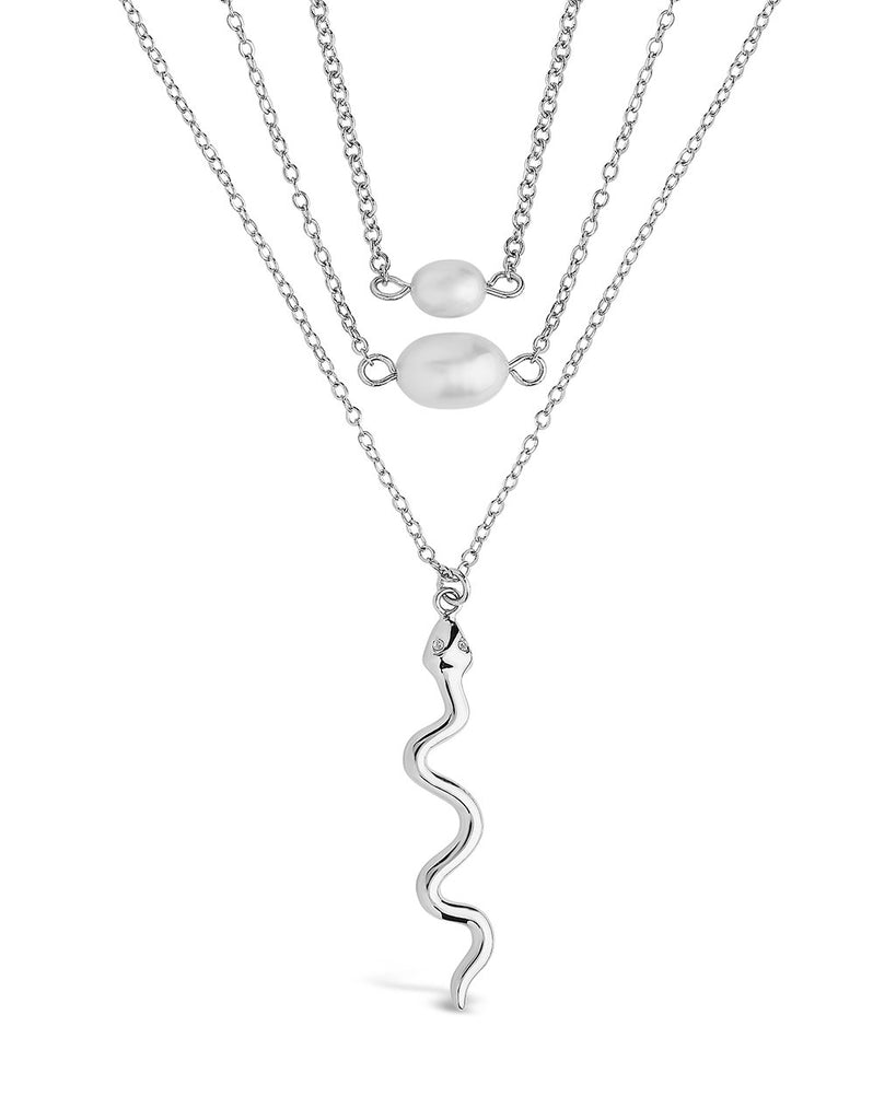 Wriggling Snake & Pearl Layered Necklace Necklace Sterling Forever Silver