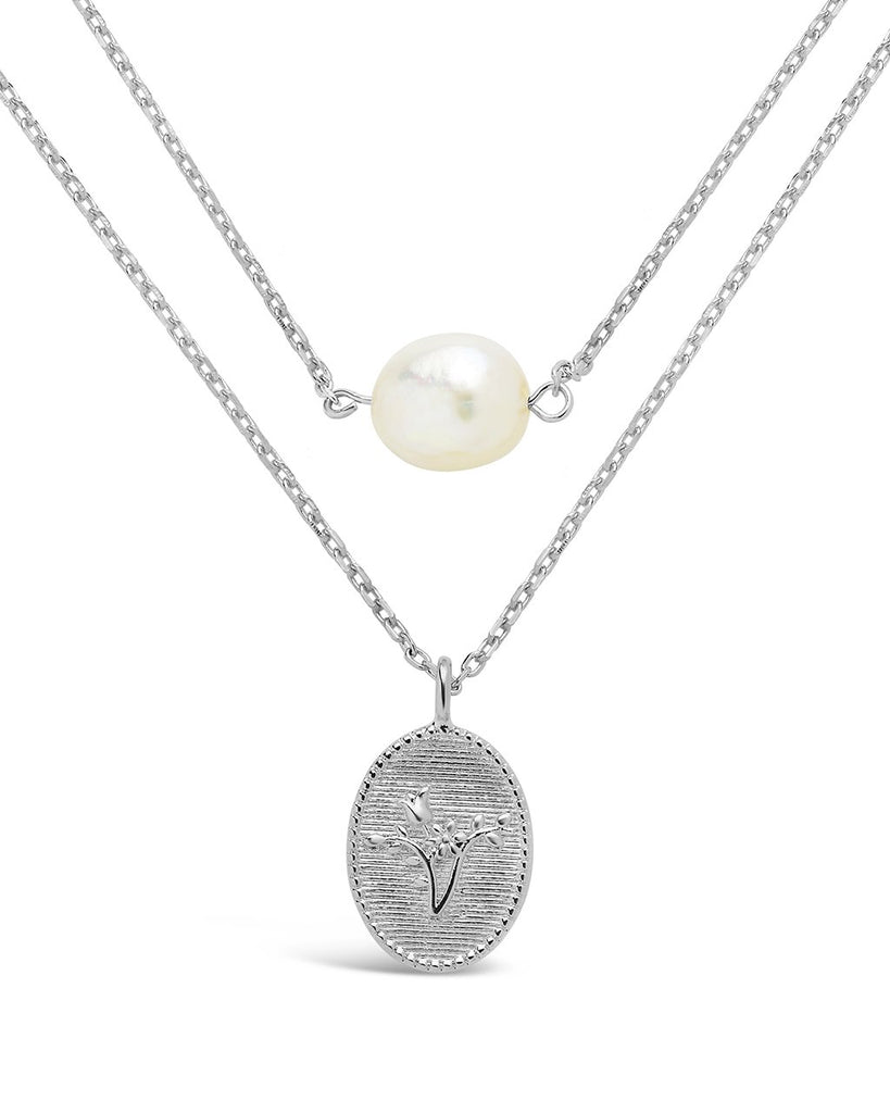 Engraved Flower & Pearl Layered Necklace - Sterling Forever