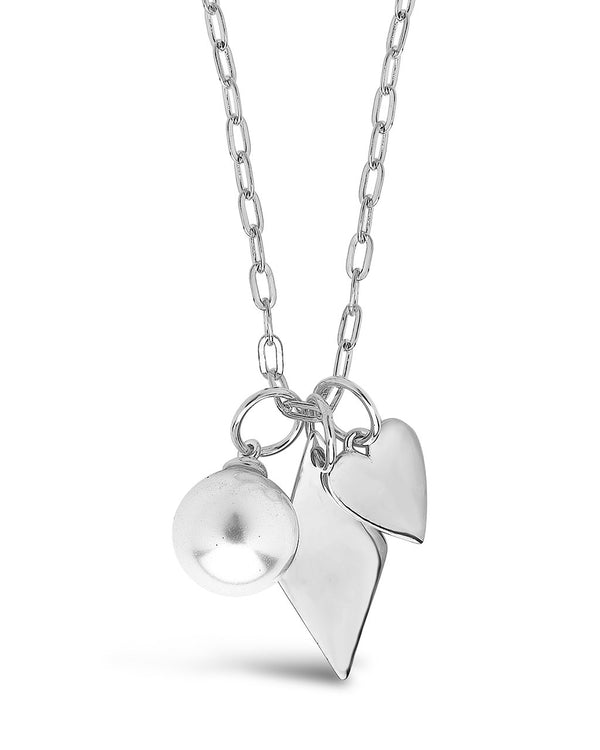 Delicate Sterling Silver Pearl & Charm Chain Necklace Necklace Sterling Forever Silver