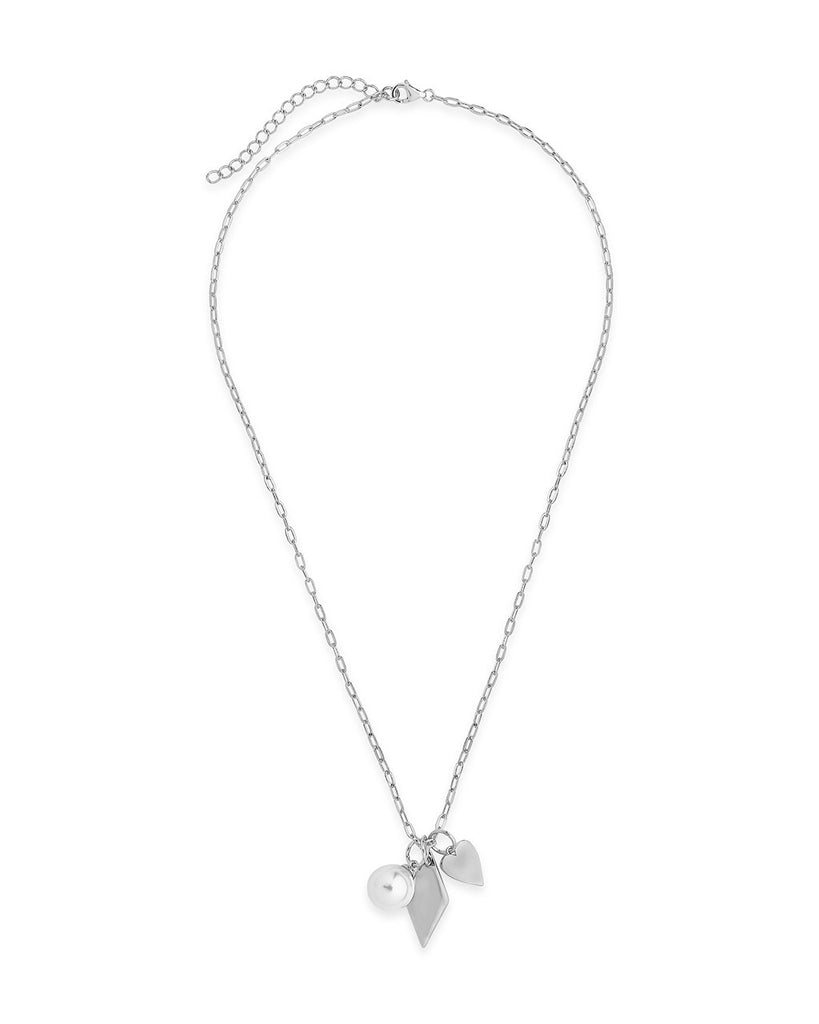 Delicate Sterling Silver Pearl & Charm Chain Necklace Necklace Sterling Forever