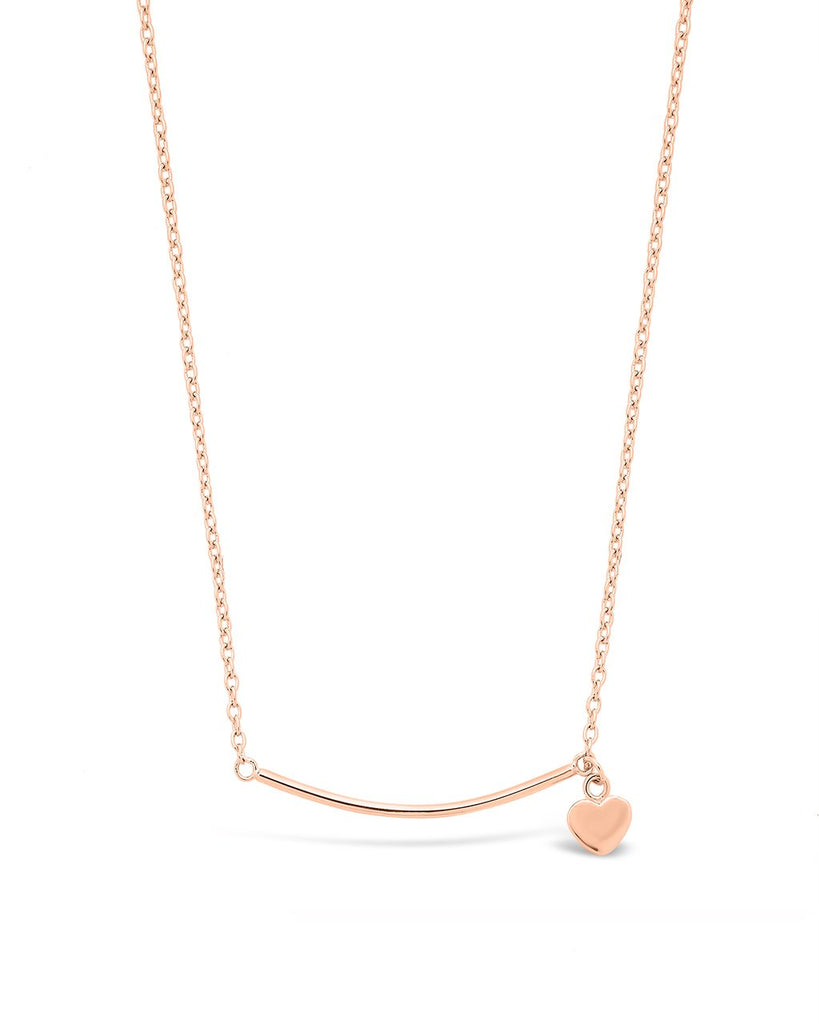 Sterling Silver Polished Bar & Heart Drop Necklace Necklace Sterling Forever Rose Gold