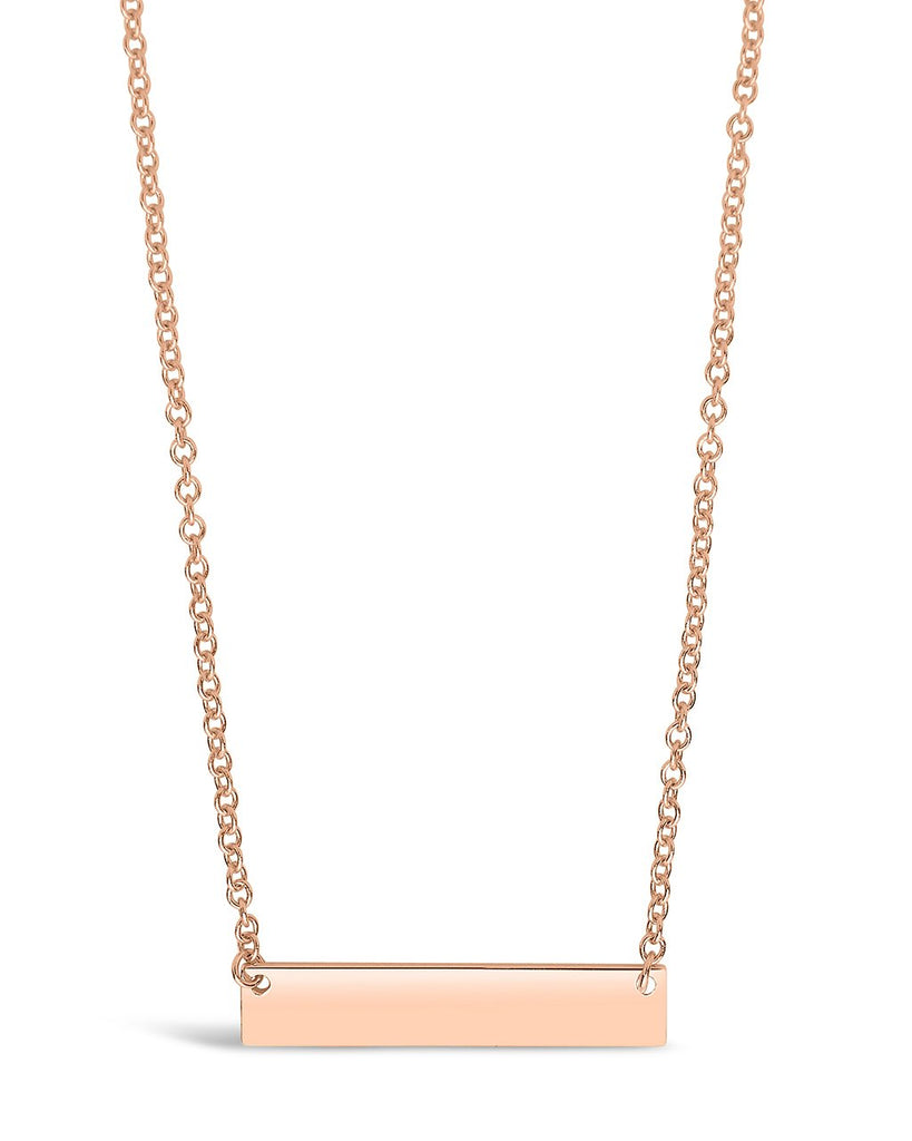 Sterling Silver Mini Bar Pendant Necklace Sterling Forever Rose Gold