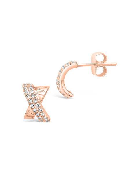 Sterling Silver CZ X Stud Earrings