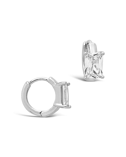 Sterling Silver Emerald Cut CZ Micro Hoops Earring Sterling Forever