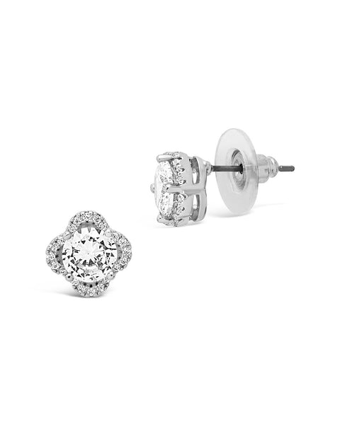 Sterling Silver CZ Lucky Clover Stud Earrings