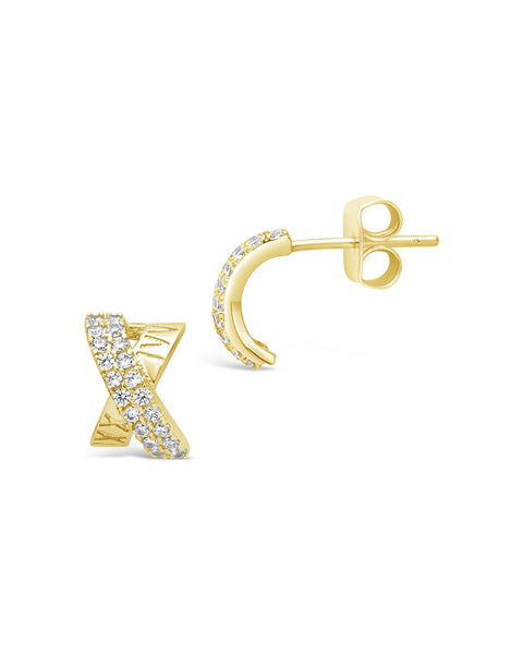 Sterling Silver CZ X Stud Earrings Earring Sterling Forever