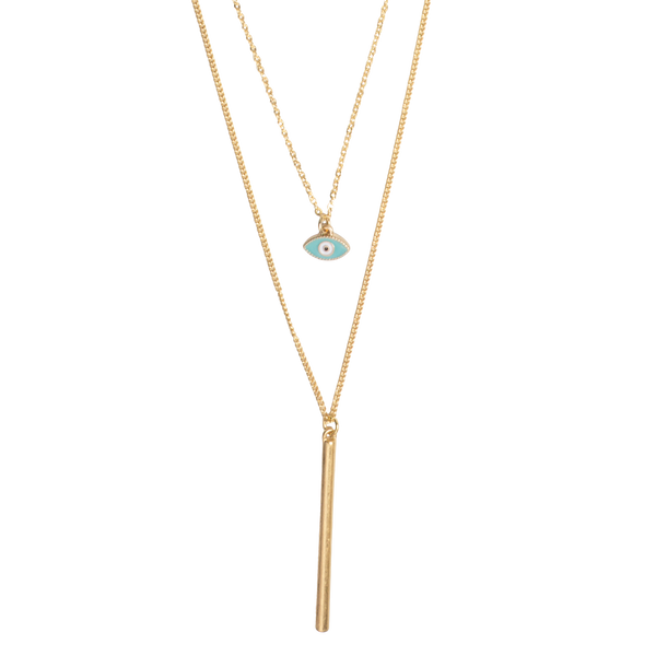 Two Layer Gold Evil Eye and Bar Chain Necklace - Sterling Forever