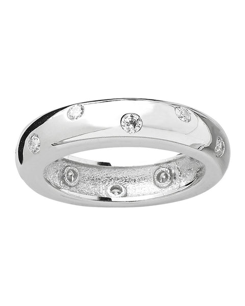 Sterling Silver Cubic Zirconia Etoile Band