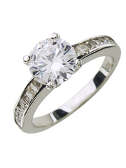 Sterling Silver Radiant CZ Engagement Ring - Sterling Forever