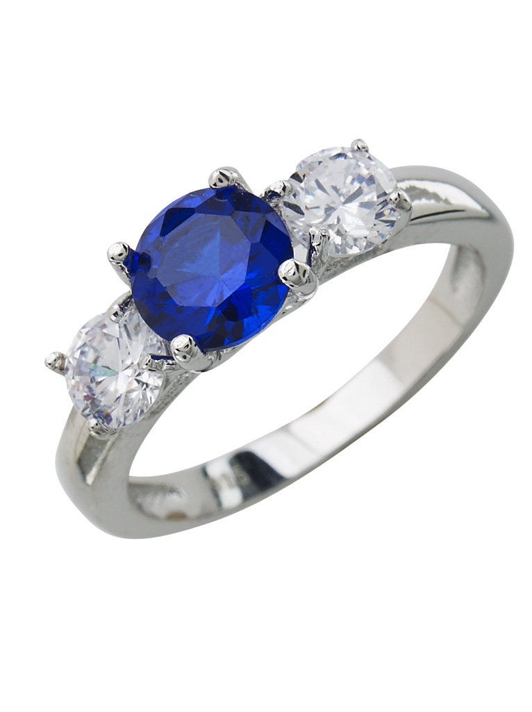 Sterling Silver Sapphire CZ Three Stone Ring