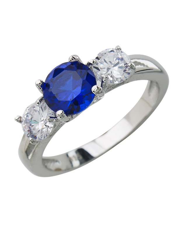 Sterling Silver Sapphire CZ Three Stone Ring - Sterling Forever