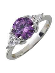 Sterling Silver Lavender and CZ Ring