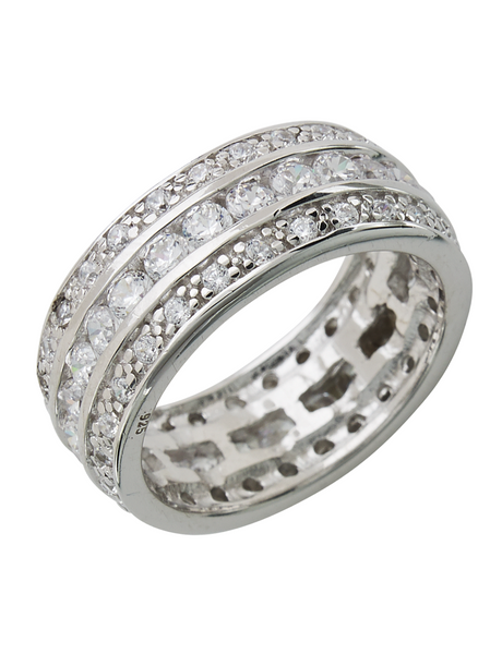 Eva's Wedding Band Ring - Triple Row CZs in Sterling Silver